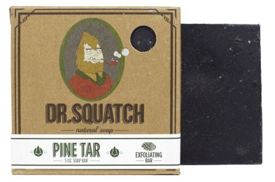 Dr. Squatch Pine Tar Soap - Mens Bar with Natural Woodsy Scent and Skin Scrub Exfoliation