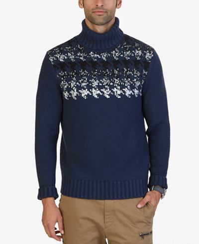 Nautica Nuatica Men's Houndstooth Turtleneck Sweater