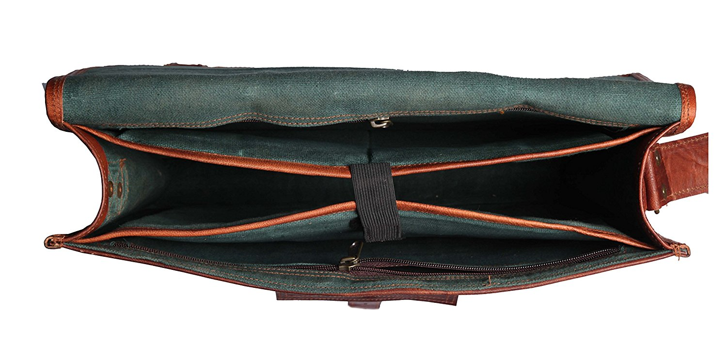 Rustic Town Genuine Goat Leather Messenger Bag