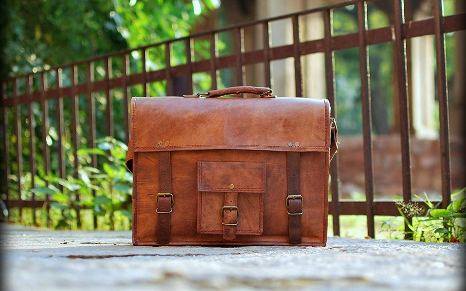 Rustic Town Genuine Goat Leather Messenger