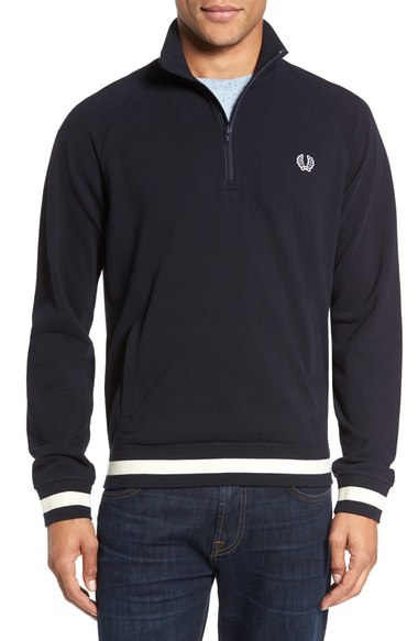 Fred Perry Quarter Zip Piqué Sweater