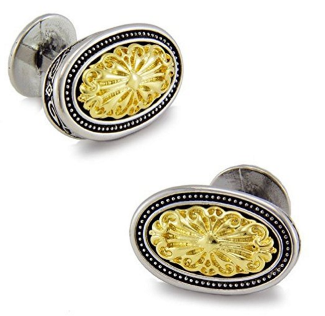 Silver Clover Men's Platinum-Plated Oval Shaped Cufflinks (with Gift Box)