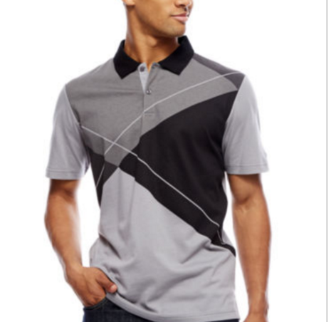 This argyle printed polo from Russell Simmons' new brand is made with light, breathable fabric that's perfect for active or casual wear.