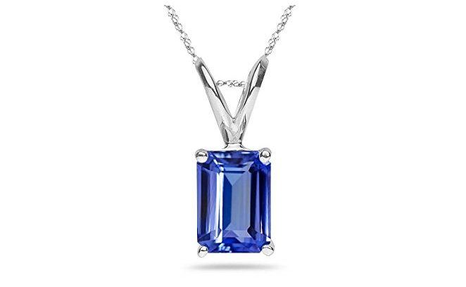 Emerald Tanzanite Solitaire Pendant in Platinum