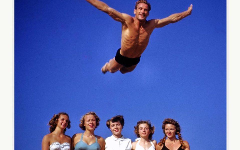 Harold Lloyd muscle beach photograph