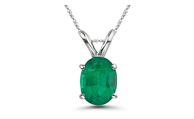 Oval Emerald Solitaire Pendant in Platinum
