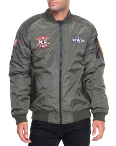 This army-inspired flight jacket with embroidered patch detailing is at once fresh and old school