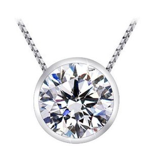 Solitaire Diamond Pendant Necklace in Platinum