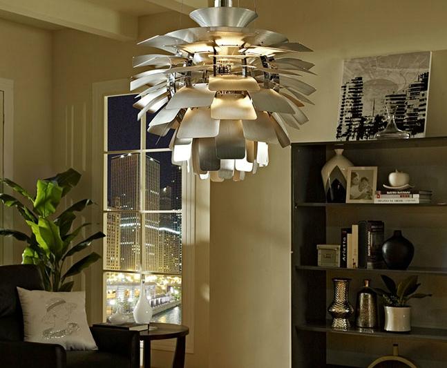 hanging silver chandelier Lexmod