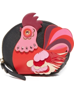 A fun and bold rooster motif highlights this saffiano-leather Kate Spade coin pouch. At 4.5 inches wide, its got just enough room for your keys, cards and your favorite lipstick.