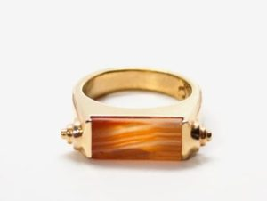 Inspired by mid century architecture, the Nova ring features an 18k gold-plated brass combined with a hand-cut agate semi-precious stone. Handmade in New York, this ring is at once minimalist and luxurious, setting your year off in style.