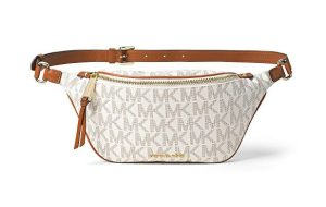 """This sleek and chic belt bag features the signature Michael Kors """"MK"""" PVC lining, along with gold-tone hardware, an embossed gold logo and an adjustable leather strap. A perfect purse alternative, this bag can hold your phone, makeup, keys and essentials for a night out with the girls."""