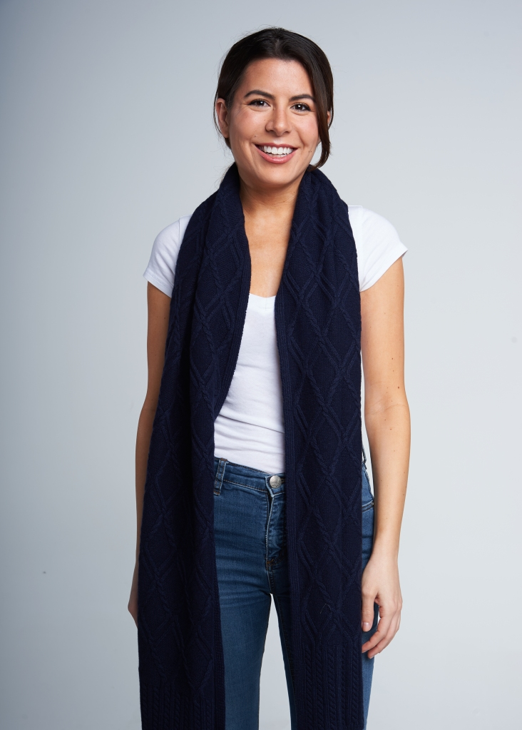 Relaxed and easy over the shoulders. You're using the long drape to accessorize and punch up a look more so than keeping warm.