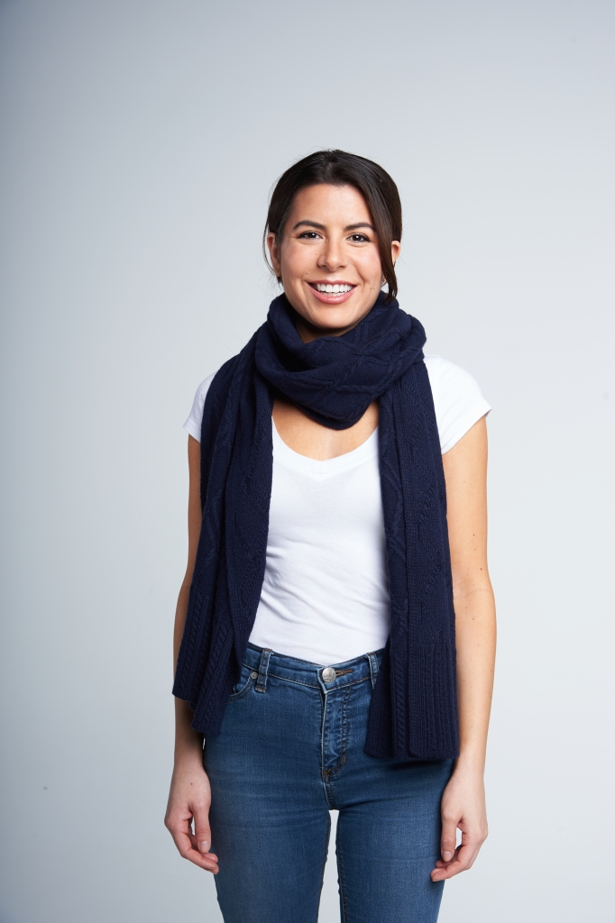 Take one end of the scarf and drape it around your neck. Don't overthink it.