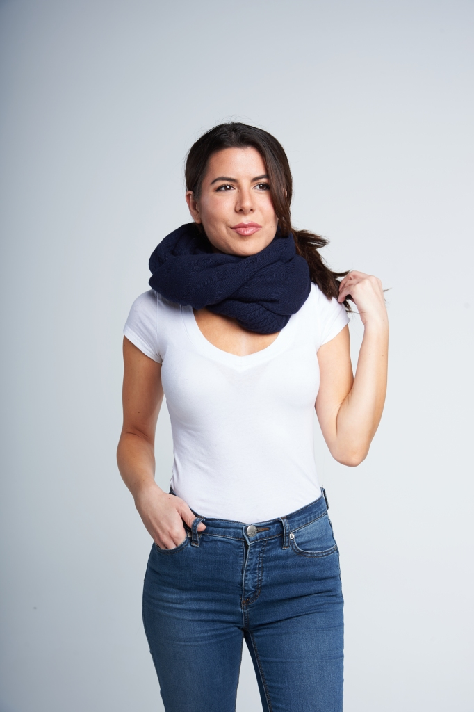 Perfect for the slopes or chilly days outdoors, this look will keep you bundled up and cozy. Wrap the scarf multiple times around your neck, keeping it snug. Then tuck the ends underneath.
