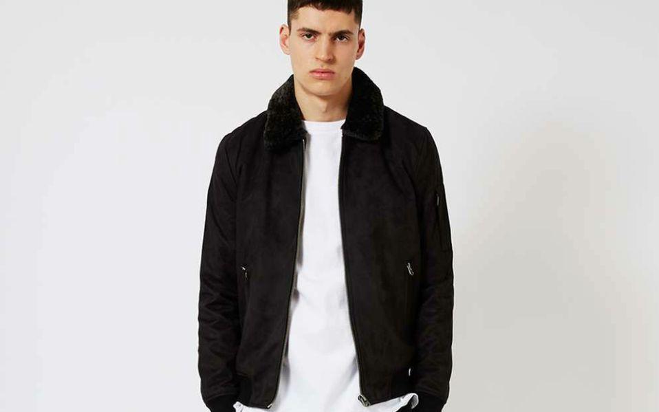 Topman Black Faux Fur Collar Flight