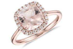 Morganite and Diamond Halo Cushion Ring