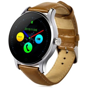 GearBest K88H Bluetooth Smart Watch with Heart Rate Monitor Stainless Steel/Leather Band Wristwatch for iOS and Android