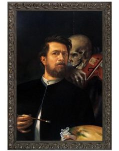 Self-Portrait with Death as a Fiddler by Arnold Bocklin Framed Hand Painted Oil Reproduction