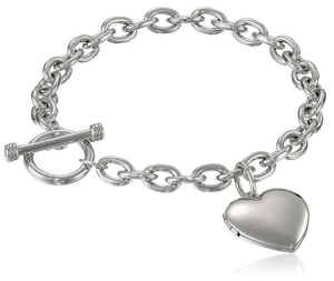 Amazon Collection Sterling Silver Toggle Bracelet with Heart Locket, 8""
