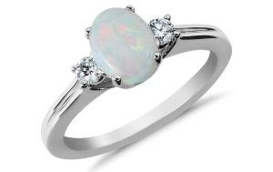 Opal and Diamond Ring in 18k White Gold