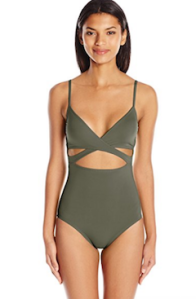 Vince Camuto Women's Fiji Solids Wrap One Piece Swimsuit with Removable Soft Cups