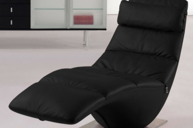 Zola Black Leather Chaise Lounge
