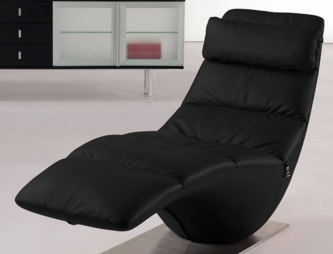black leather chaise lounge zola