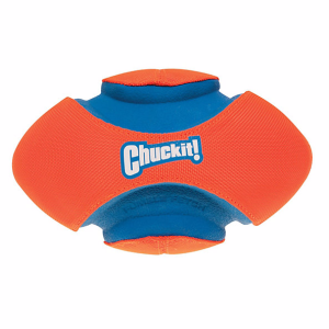 Made from a durable canvas, rubber and foam, this fetch football is virtually indestructible and allows for hours of play with its random bounce, multiple grip points and soft, safe padding.