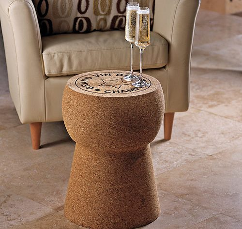 unique table stool giant champagne cork