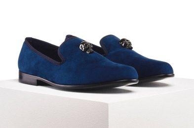 duke & dexter skulled blue loafers