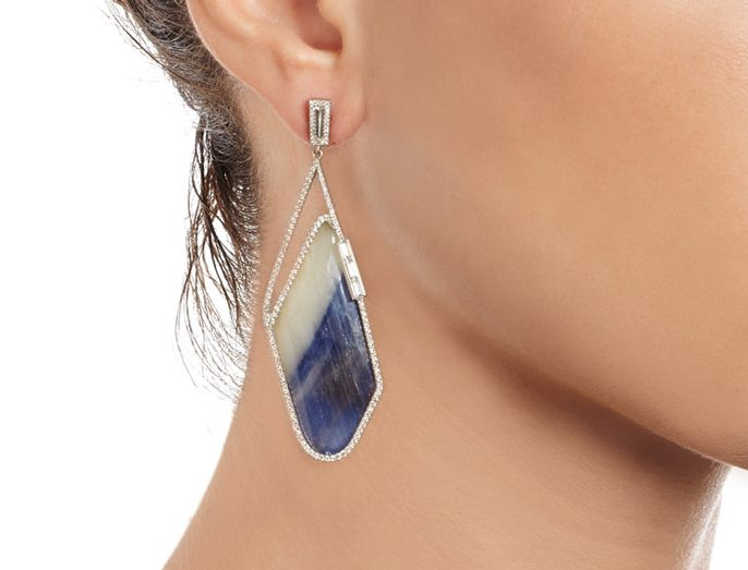 Earrings: Diamond & Sapphire Slices by