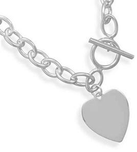 AzureBella Jewelry Heart Tag Charm Bracelet Toggle Sterling Silver