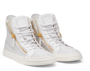 These white crocodile-embossed calf leather sneakers feature gold detailing and a sense of Giuseppe Zanotti flair. give these high-tops a luxurious twist