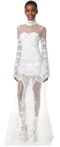 JONATHAN SIMKHAI: Flare Sleeve Lace Gown