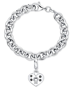 "Victoria Kay Victoria Kay Sterling Silver Black and White Diamond Accent Charm Bracelet with Heart Lock, 7"" (J, I2-I3)"