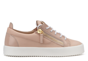 These python-embossed leather low-tops, offer a chic textural contrast, while the blush pink colorway is a chic upgrade from basic white.