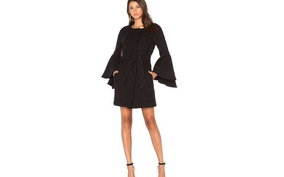 Milly Women's Flare Sleeve Tie Coat