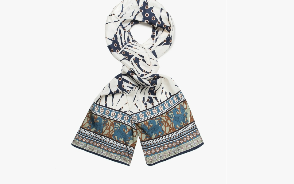 An Abstract Silk Scarf Made in