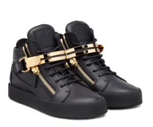 The all-black calf leather upper is juxtaposed with Giuseppe Zanotti's gold metal detailing in these chunky sneakers.