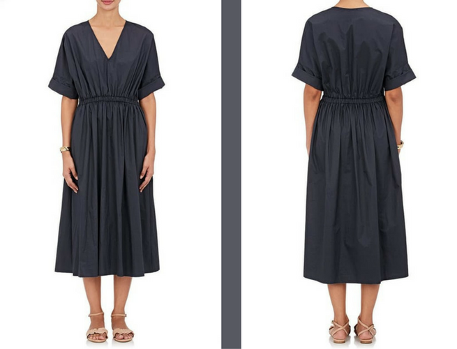 washed cotton poplin midi dress navy