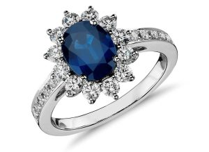 Oval Sapphire and Diamond Ring in 18k White Gold