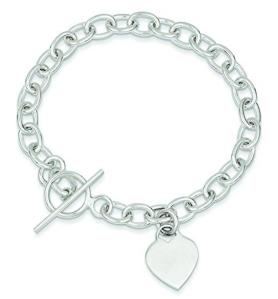 Shop4Silver Sterling Silver Dangling Heart Charm Bracelet