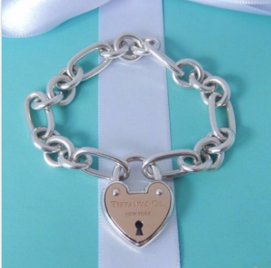 Tiffany Co. Silver 18k Gold Arc Heart Lock Oval Circle Link Charm Bracelet Rare!