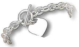 West Coast Jewelry 925 Sterling Silver 7.5 Inch Toggle Bracelet with Small Heart Tag