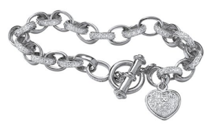 Seta Jewelry White Diamond Accent Platinum over .925 Sterling Silver Heart Charm Bracelet 7.25""