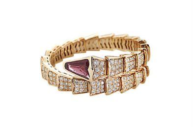 BULGARI Serpenti Rose Gold Diamond Rubellite Bangle