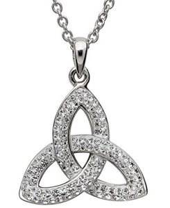 CLADDAGH RING STORE Sterling Silver Celtic Trinity Knot Pendant Adorned By Swarovski Crystals - Made in Ireland