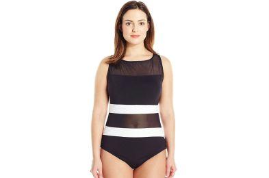 mesh panel one piece swim suit