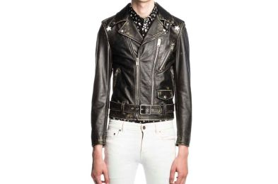 Saint Laurent Star-Painted Distressed Leather Moto Jacket